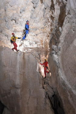 High-rope caving